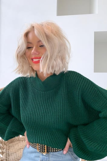 LAURA JADE DARK GREEN CROPPED BALLOON SLEEVE JUMPER