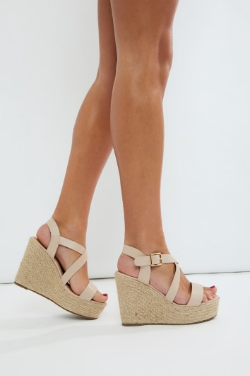 KASSIM NUDE CROSS STRAP WEDGES