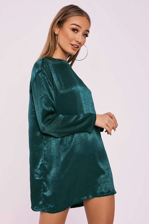BETHEN GREEN SILKY SHEER OVERSIZED T SHIRT DRESS