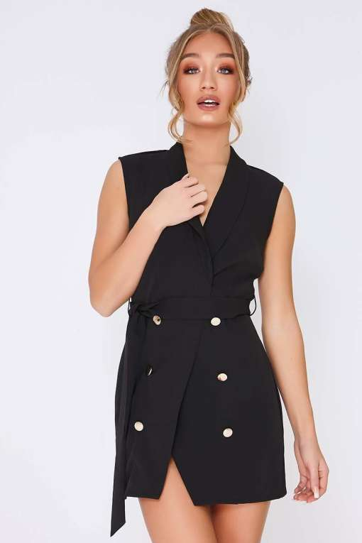 TAMMY HEMBROW BLACK WRAP FRONT BLAZER DRESS