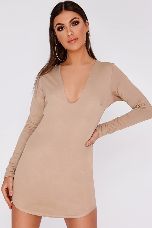 AMIYA STONE LONG SLEEVE PLUNGE MINI DRESS