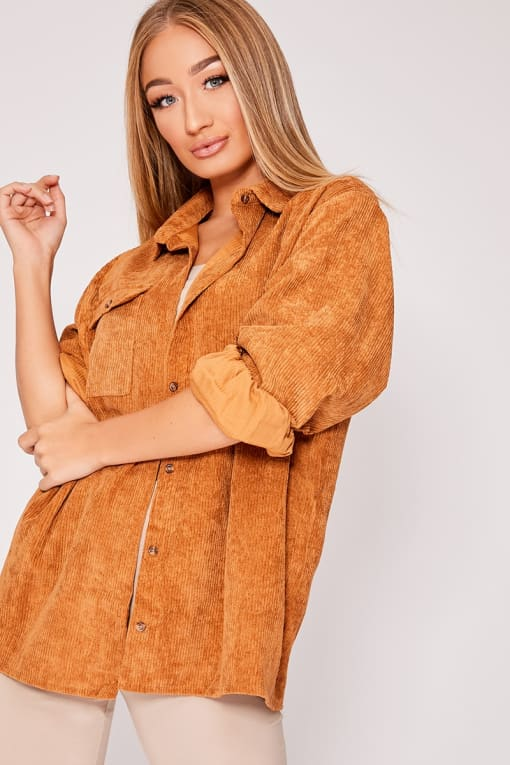 MARANDA BROWN CORDUROY OVERSIZED SHIRT