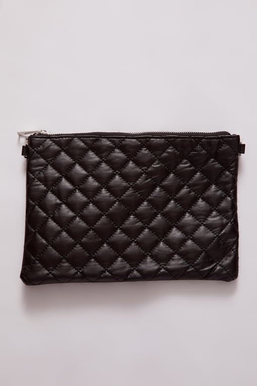 BLACK QUILTED RECTANGLE CROSS BODY BAG