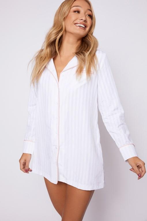 ELIANI WHITE STRIPE PIPING DETAIL NIGHT DRESS