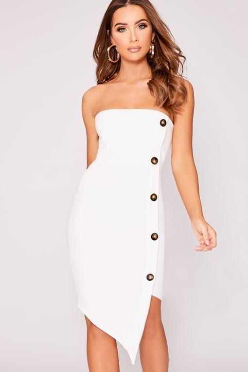 DYLANAH WHITE HORN BUTTON ASYMMETRIC DRESS