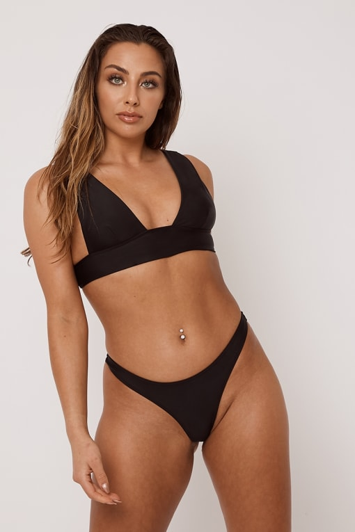 BLACK MIX & MATCH THONG BIKINI BOTTOMS