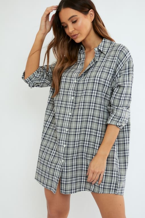 ALVENA GREY CHECKED SHIRT DRESS