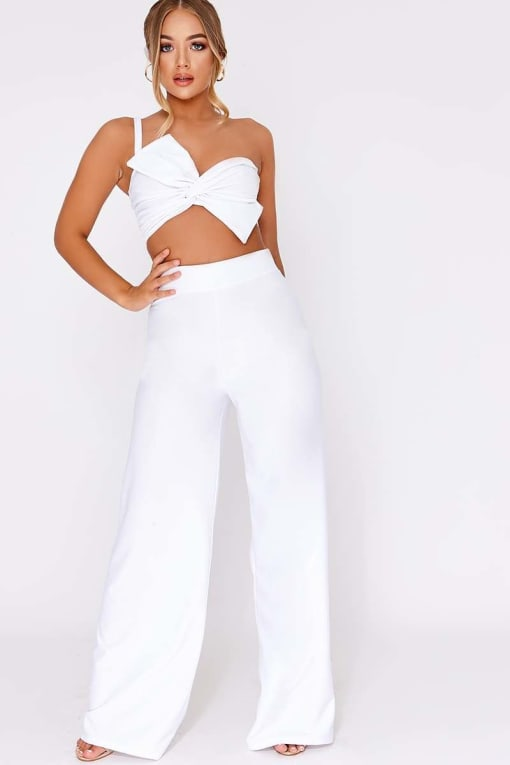 BILLIE FAIERS WHITE PALAZZO TROUSERS