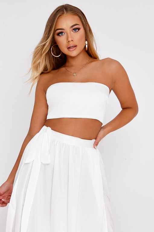 BILLIE FAIERS WHITE SATIN BANDEAU CROP TOP