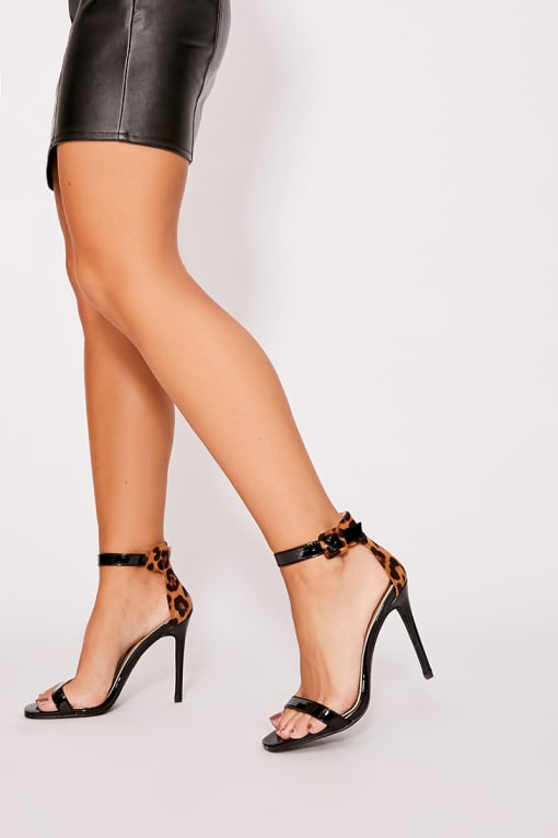 JULIZA BLACK PATENT LEOPARD PRINT BARELY THERE HEELS