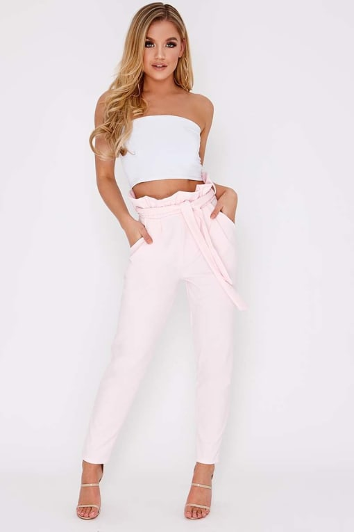 CODIA BABY PINK PAPERBAG SKINNY TROUSERS