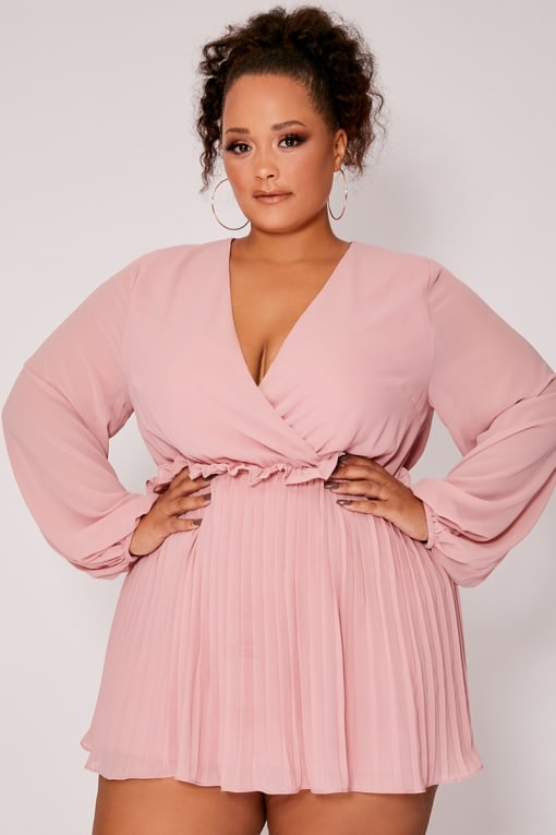 CURVE DANI DYER DUSTY PINK BALLOON SLEEVE PLEATED MINI DRESS