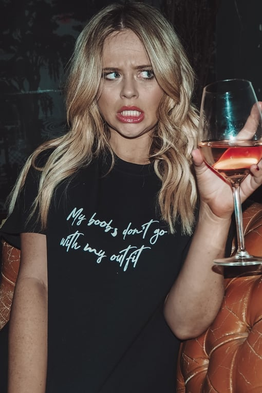 EMILY ATACK BLACK MY BOOBS DON'T GO WITH MY OUTFIT SLOGAN OVERSIZED TEE SHIRT