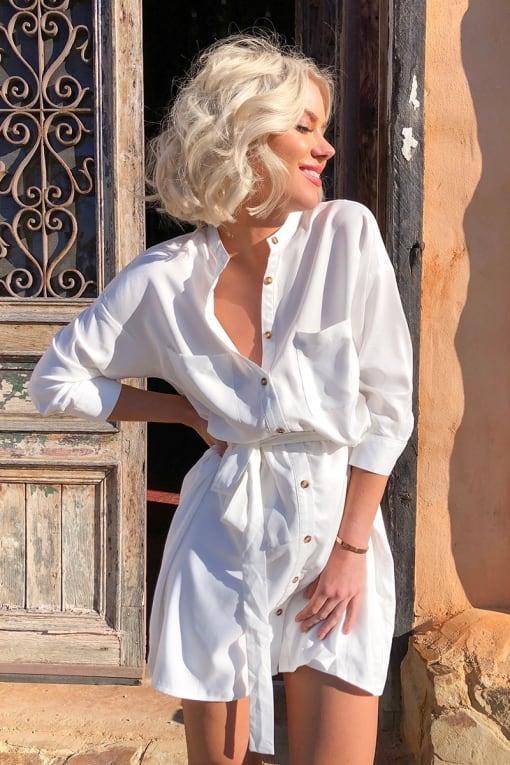 LAURA JADE WHITE BELTED SHIRT DRESS