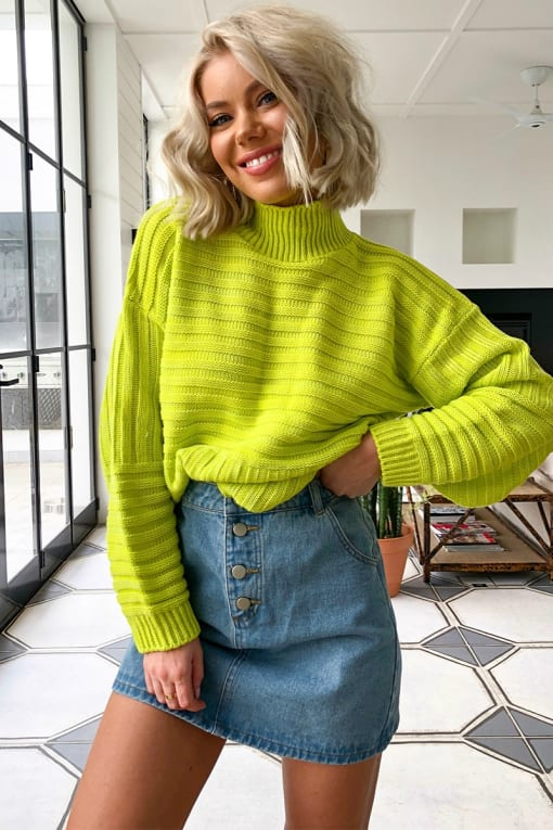 LAURA JADE LIME HIGH NECK KNITTED RIB JUMPER