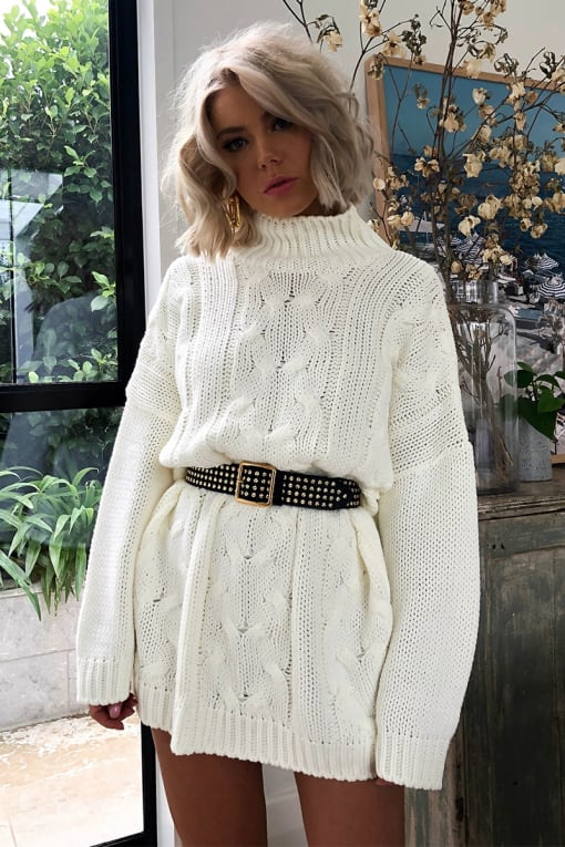 LAURA JADE CREAM OVERSIZED CABLE KNIT HIGH NECK JUMPER DRESS