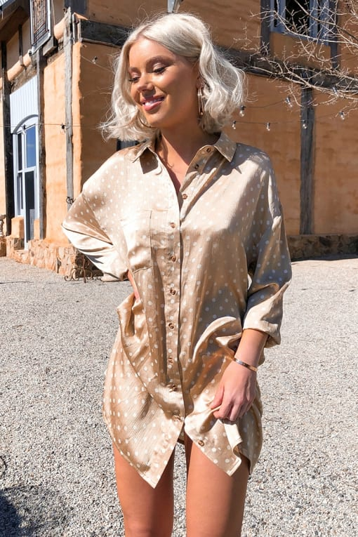 LAURA JADE NUDE POLKA DOT PRINTED OVERSIZED SHIRT DRESS