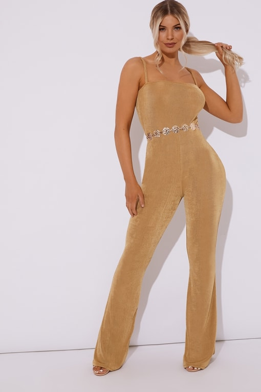BRINIE GOLD SLINKY SQUARE NECK FLARED LEG JUMPSUIT