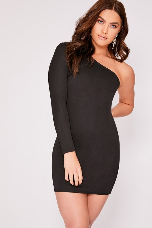 KRISTEL BLACK ONE SHOULDER BODYCON DRESS