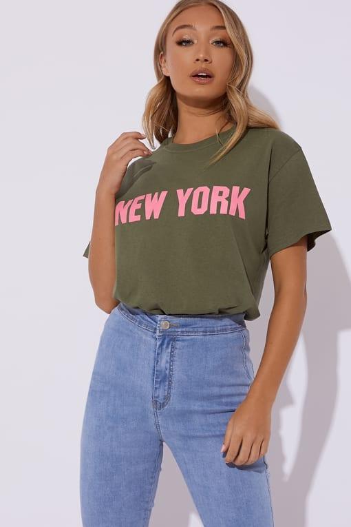 NOYA KHAKI NEW YORK SLOGAN T SHIRT