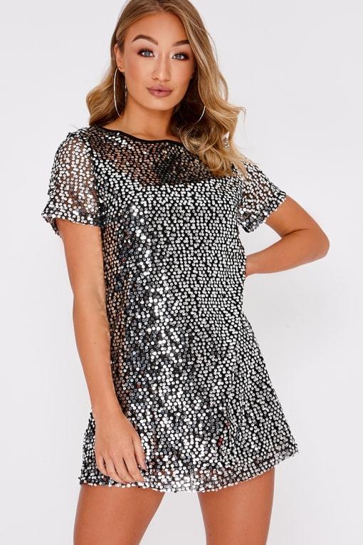 MADELINE BLACK SEQUIN T SHIRT DRESS