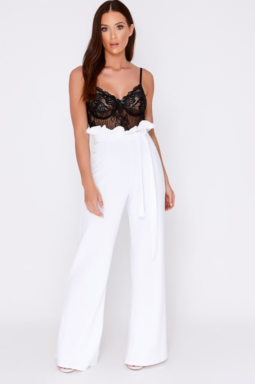 SARAH ASHCROFT WHITE FLARED HIGH WAISTED PAPERBAG TROUSERS