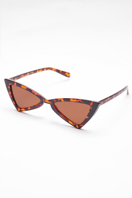 BROWN TORTOISE SHELL TRIANGLE SUNGLASSES