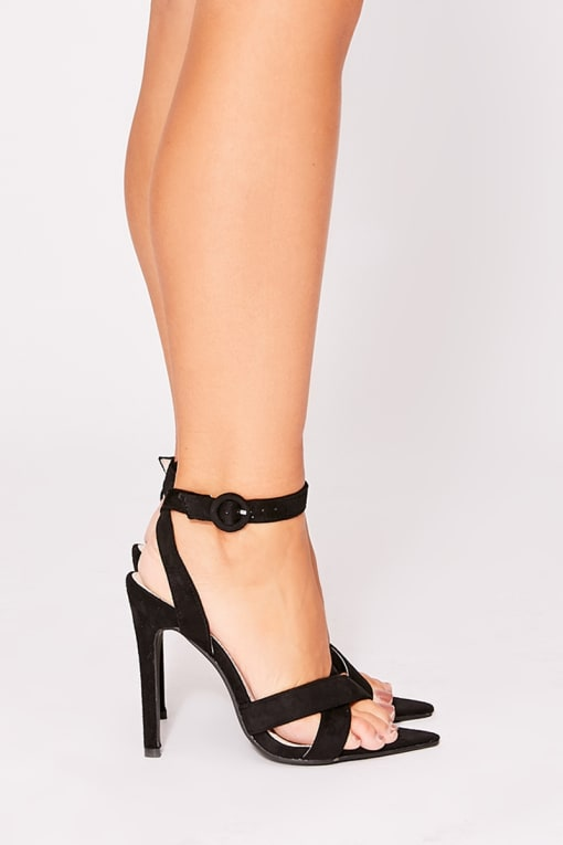 ORITA BLACK FAUX SUEDE CROSS STRAP POINT HEELS