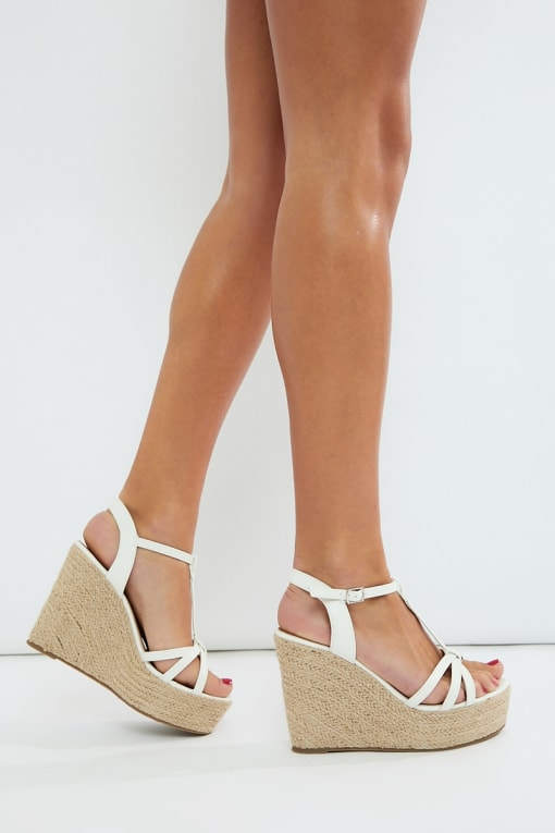 MILLI WHITE THREE STRAP DETAIL WEDGES