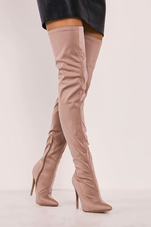 RABIA MOCHA LYCRA SOCK OVER THE KNEE HEELED BOOTS