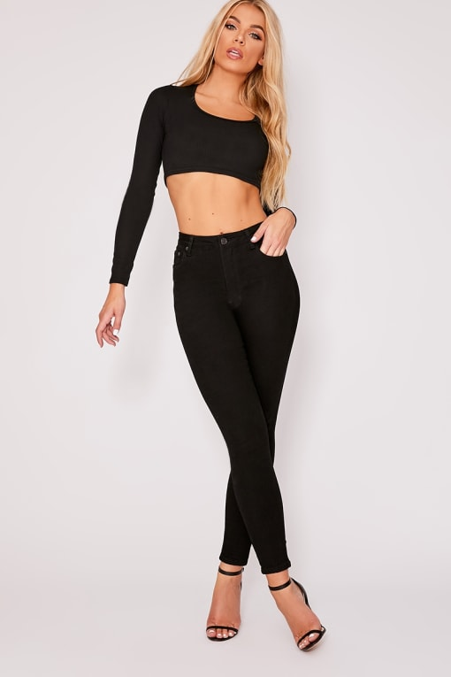 ZANEY BLACK DENIM HIGH WAISTED SKINNY JEANS