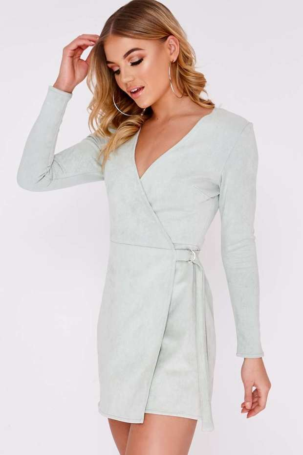 ALYA MINT FAUX SUEDE D RING WRAP DRESS