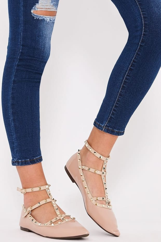 RUDY NUDE STUDDED ANKLE STRAP POINTED FLATS