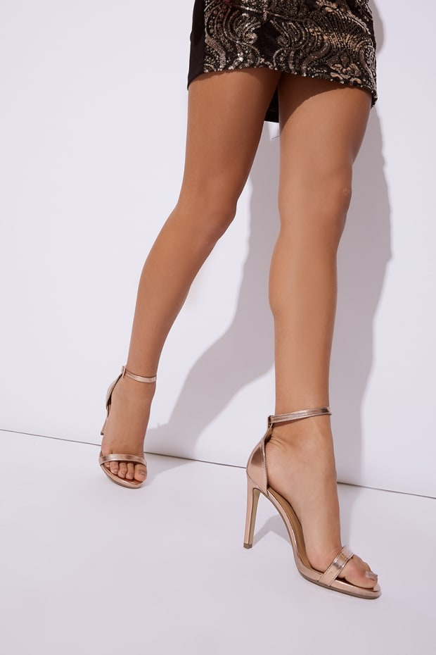 MARNEY ROSE GOLD PATENT ANKLE STRAP BARELY THERE HEELS
