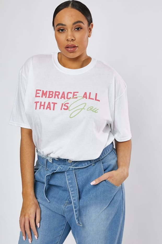 CURVE WHITE EMBRACE ALL THAT IS YOU T SHIRT