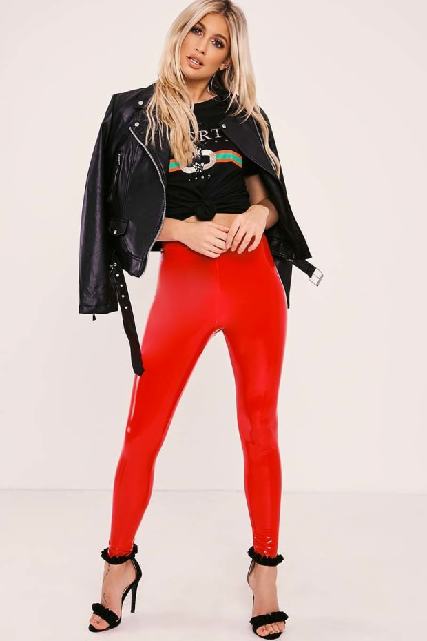 NATALEE RED VINYL TROUSERS