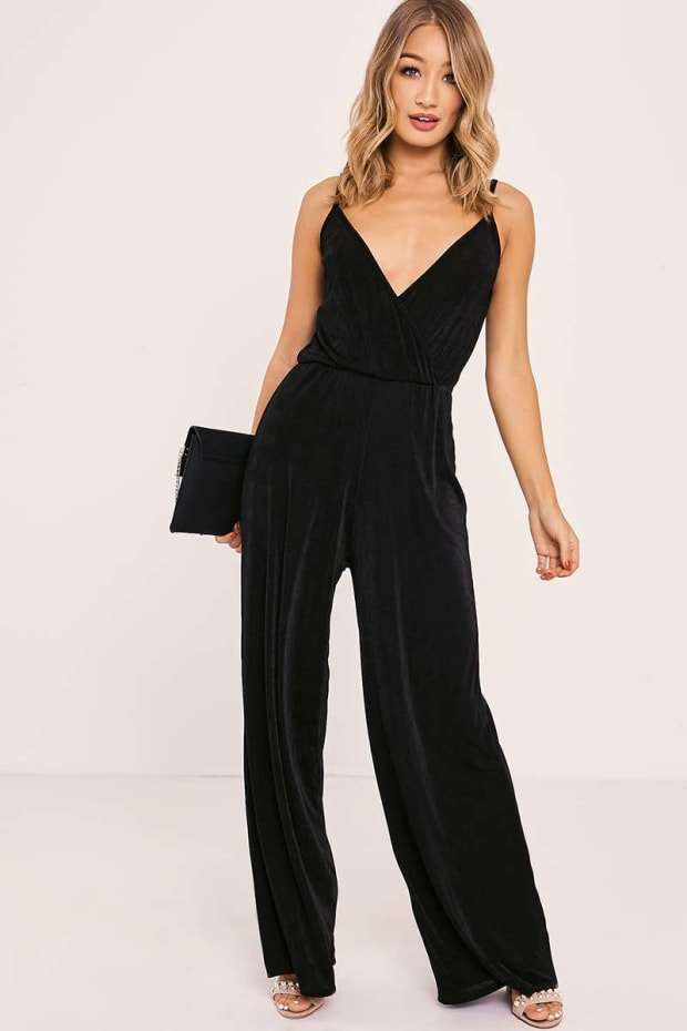 c5cbe1b75057 ZURIE BLACK SLINKY WRAP FRONT JUMPSUIT. Previous
