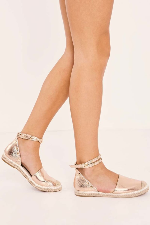 JUDIA ROSE GOLD STUDDED FAUX LEATHER ESPADRILLES