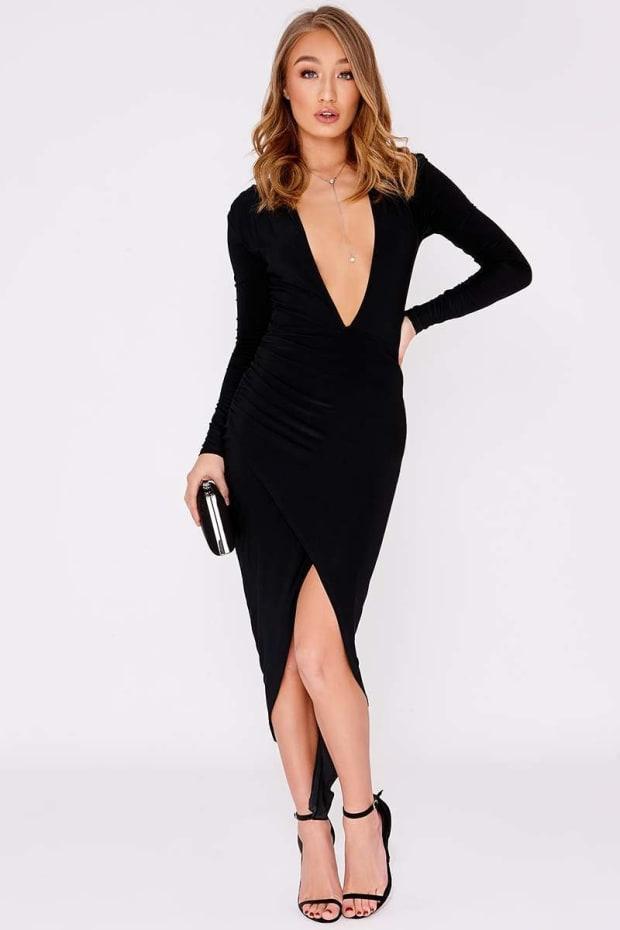 d1437d333c23 Gabbee Black Slinky Ruched Plunge Midi Dress