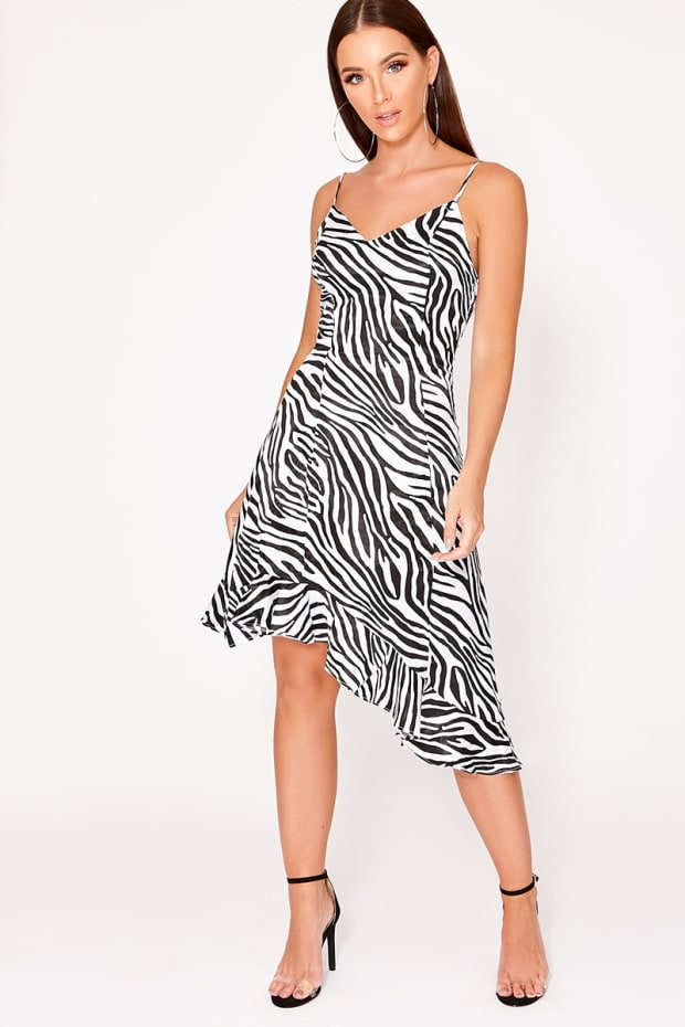 ARAWRA WHITE ZEBRA PRINT SATIN SLIP DRESS