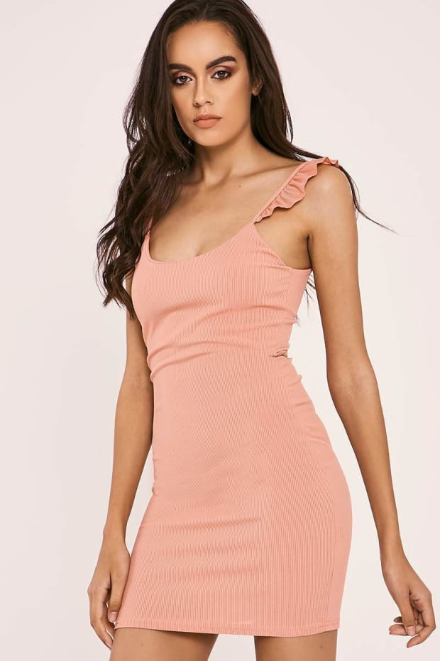 EIRA ROSE FRILL STRAP RIBBED BODYCON DRESS