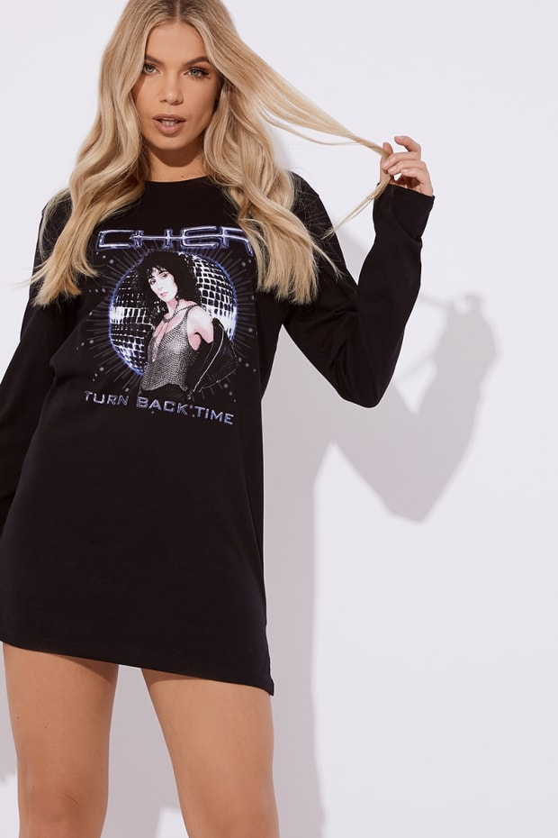 aed6baa03996 Cc Clarke Cher Oversized Black Long Sleeve T Shirt Dress