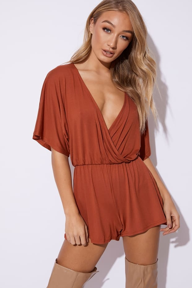 DOROTHY RUST JERSEY PLUNGE WRAP PLAYSUIT