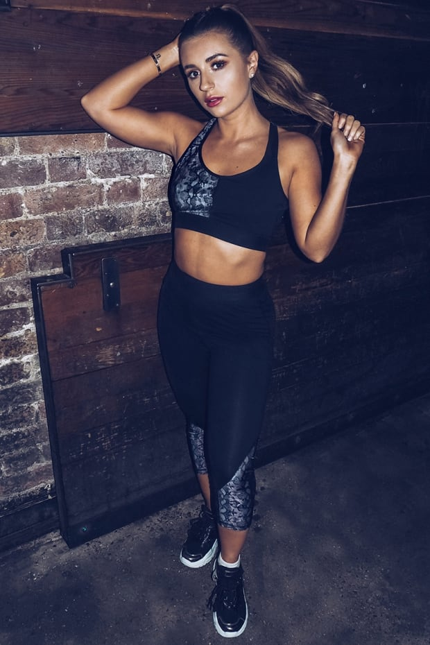 DANI DYER ACTIVE GREY SNAKE PRINT PANEL CROPPED GYM LEGGINGS