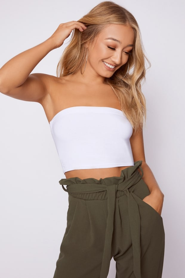 BASIC SLINKY BANDEAU WHITE CROP TOP