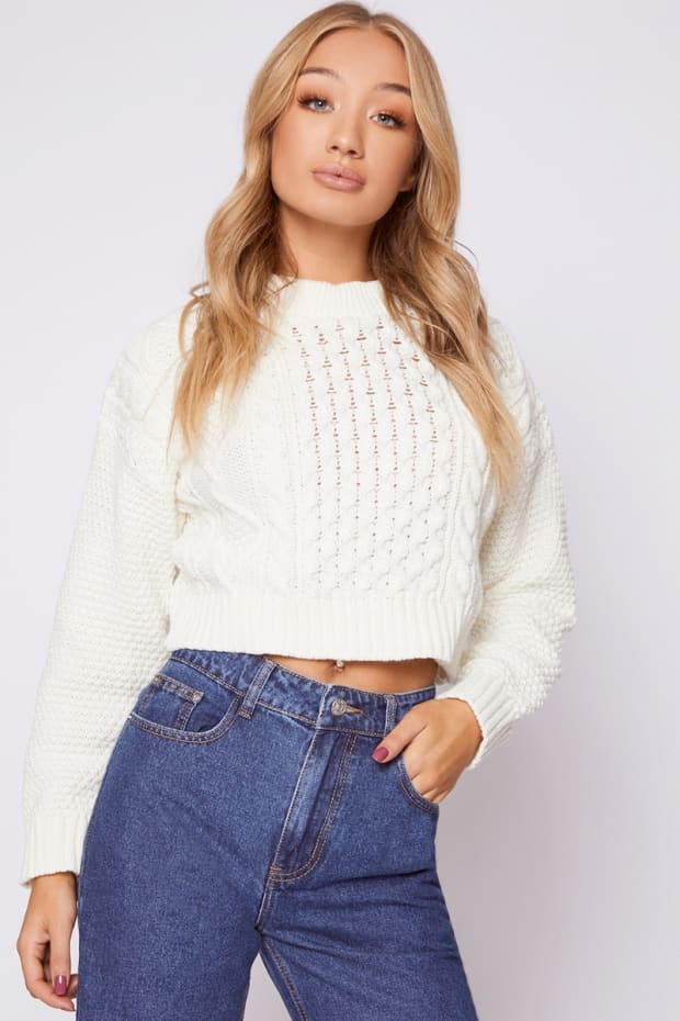 KAMARI CREAM CABLE KNIT CROPPED JUMPER
