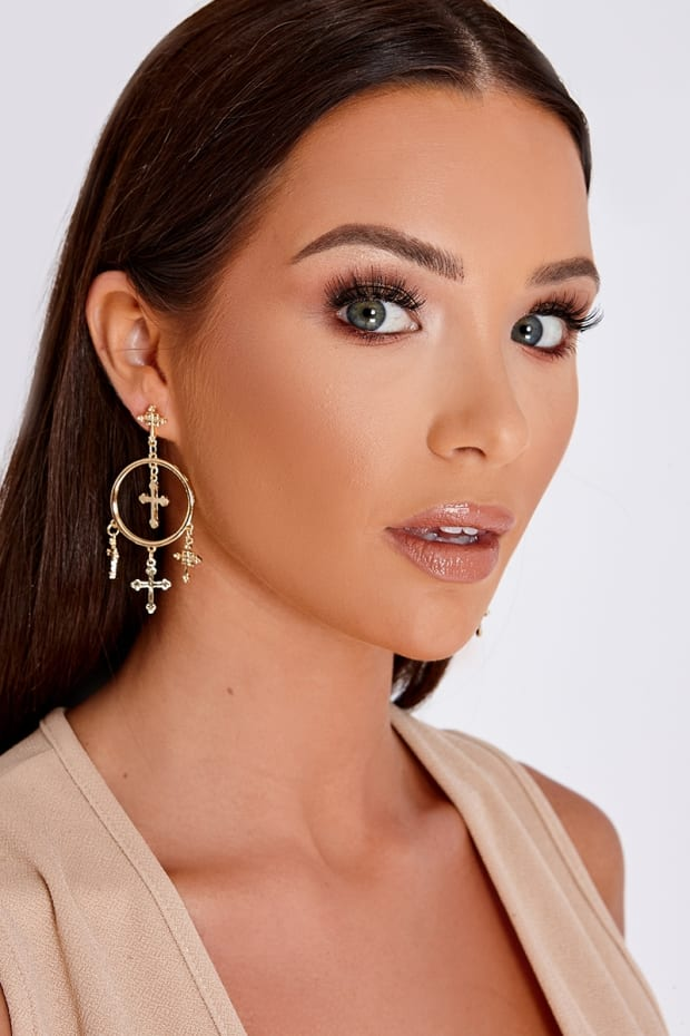 GOLD CROSS AND CIRCLE EARRINGS