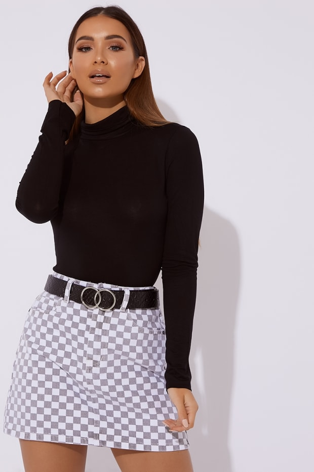 OKALUNA GREY CHECKERED DENIM SKIRT