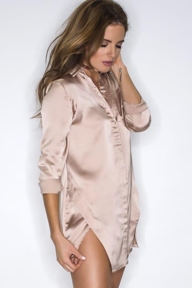 BINKY MINK SATIN SPLIT FRONT SHIRT DRESS