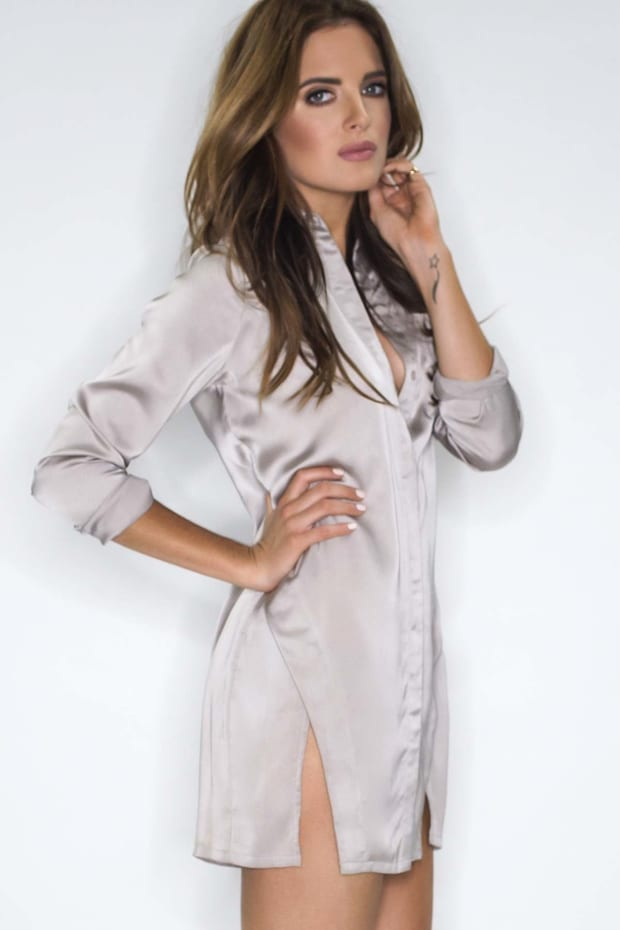 Binky Pearl Grey Satin Split Front Shirt Dress